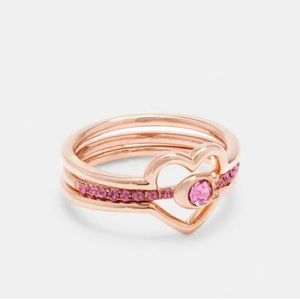 NWT Coach Rose Gold 3 Piece Layering Heart Ring